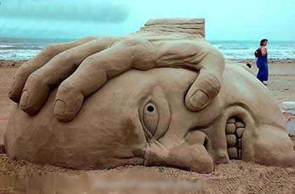 Sand Sculpture of a Bully